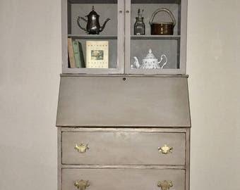 Vintage/Antique Mahogany Secretary Desk/Hutch refinished hand painted