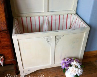 Vintage Wood Blanket Box Painted Shabby Chic Storage Chest Trunk Fabric Lined