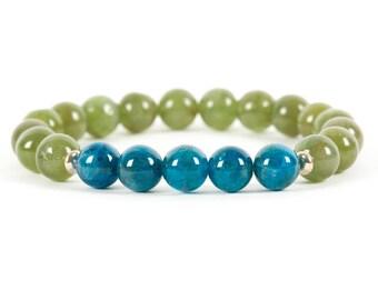 Apatite Bracelet, Blue Apatite, Green apatite, Gemstone Bracelet, Handmade Jewelry, Gemstone Jewelry, unique-gift-for-wife, energy, chakra