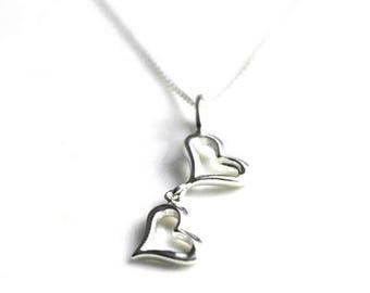 Sterling Silver Two Heart Pendant Necklace - Silver Heart Necklace - Double Heart Silver Pendant - Heart Jewellery Gift - Open Heart