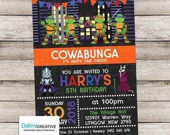Superhero Birthday Party Invitation - Ninja Birthday Invitation - Turtle Invitation - Ninja Turtle Printable Invitation!