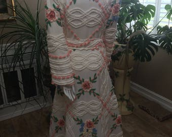 Vintage look Bath robe from Cabin Craft chenille bedspread dressing gown