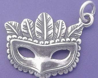 MARDI GRAS, Party MASK .925 Sterling Silver Charm, Feather Mask Pendant - d40422