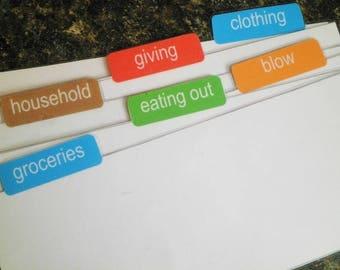 Envelope System - Printable and Editable Wallet Cash Dividers -  PDF File