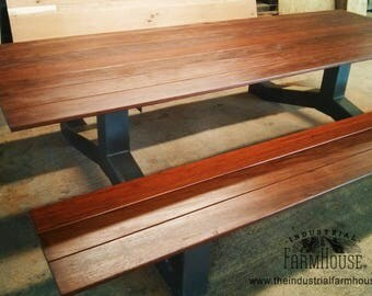 PICNIC TABLE: Outdoor Modern Industrial Style IPE Picnic Table
