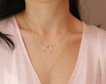 Hand forged moon half moon necklace 14k gold   SN-01