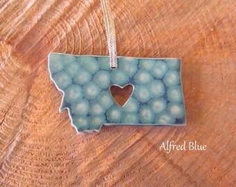 Handmade State Pottery Ornaments Montana