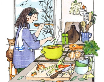 Winter Soup : Making a big pot of homemade soup on a cold day , nothing nicer ! Printed card from collage original ..