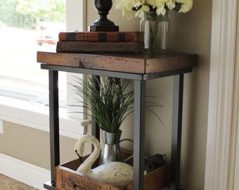 Metal / Industrial Side Table   Rustic Reclaimed Barn Wood Top