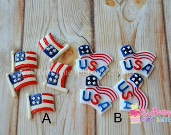 4th of july resins, independence day resins,  cabochons, flatback resins, hair bow center piece, embellishment, flag centerpiece, usa resin