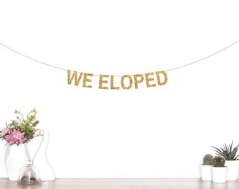 We Eloped Banner, Wedding Banner, Elopement Banner, Wedding Photo Prop, Photo Booth, Wedding Pictures, We Eloped, She Said Yes, Just Married