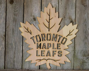 Toronto Maple Leafs logo wall hanging sign/gift/cutout/laser/door/decor/unfinished/wood/laser