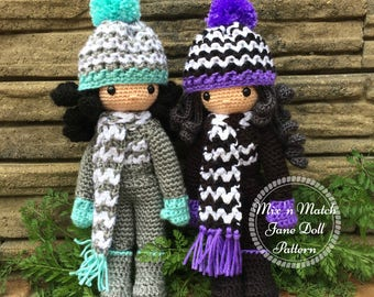 Crochet Doll Pattern ~ Mix and Match Jane Doll with Chevron Set ~ Doll AND Clothing Pattern