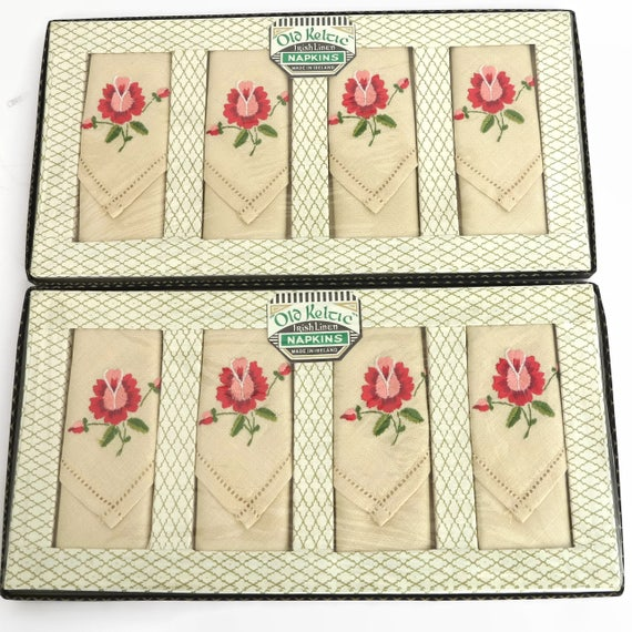8 vintage embroidered napkins, Old Keltic Irish Linen, original boxes, ecru color with pink flowers and faggotted edges, mid 20th century