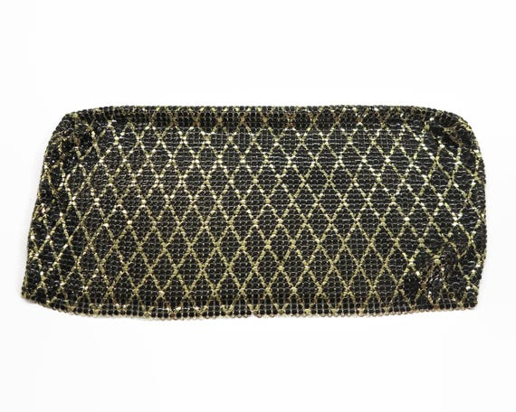 Gold and  black metal mesh with diamond pattern, double sided mesh removed from purse, all gold on other side, excellent condition, 1970s