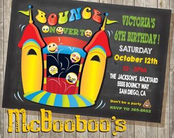 Chalkboard Emoji Bounce House Birthday Party Invitation