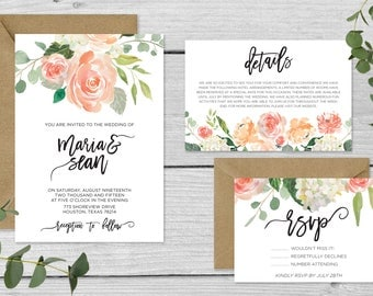 Customizable Downloadable Wedding Invitation Suite Vintage Florals Custom // The Georgiana Suite