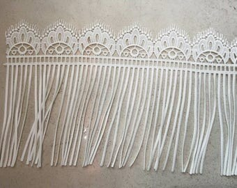 Tassel lace trim for DIY sewing,white circle lace trimming,flower hollow up trim