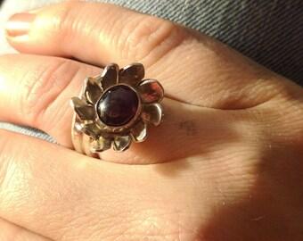 Garnet Flower Ring, Adjustable