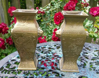 Brass Vase Set 2 Vintage Etched Floral Chinoiserie Vases Asian Home Decor