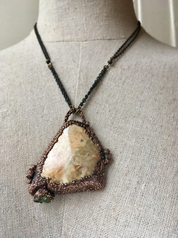 NaturalJewelry, Necklace, CopperNecklace , GypsyNecklace, OneOfAKind, BohoNecklace, electroformed neclace, agate necklace