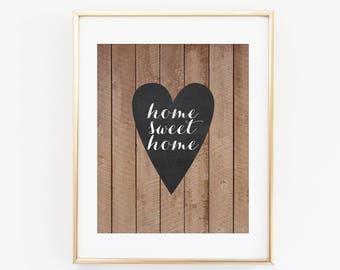 Home Sweet Home Printable Art Print, Chalkboard Heart, Wood Printable Wall Art, Home Decor, Instant Download