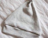 Organic Knot Beanie / Heather Gray Stripe Baby Beanie