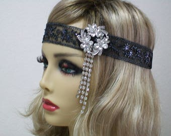 Black 1920s headband, Flapper Bandeau, Gatsby headband, Beaded headband, 1920s hair accessory, Roaring 20s dress, Jazz Age