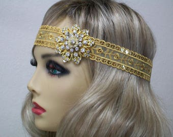 Flapper headpiece, 1920s headpiece, Gold 1920s headband, Roaring 20s, Rhinestone brooch, 1920s hair accessory, Vintage inspired