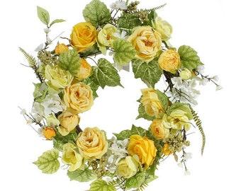 "24"" Garden Rose and Ranunculus Floral Wreath"