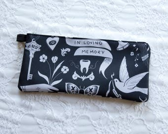 Victorian Mourning Pouch - Zipper Makeup Bag - Pencil Case