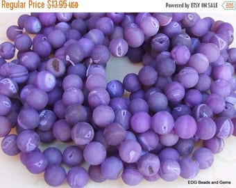 Dark Purple Agate Druzy Beads - Quartz Matte Finish Round Stone Beads - 14mm - 16 inch Strand