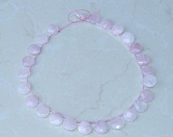 Rose Quartz Faceted Briolette - Rose Quartz Drop - Polished Rose Quartz - Rose Quartz Bead - Half Strand - 16mm x 16mm x 6mm