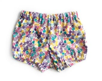 watercolor dots baby bloomers - spring bloomers