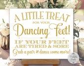 Gold Matte Printable Dancing Shoes Sign, Wedding Sign, Little Treat For Your Dancing Feet, Flip Flops Sign (#DA13G)