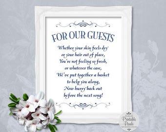 Bathroom Basket Sign, Navy Blue Lettering, Printable, Wedding, Toiletries Basket (#BT13N)