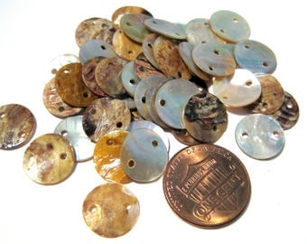 50pcs Natural Flat Mother of Pearl Links Connectors