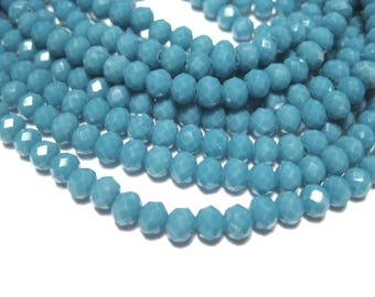 1 Strand Blue Faceted Rondelle Glass Beads 4x3mm ( No.19)