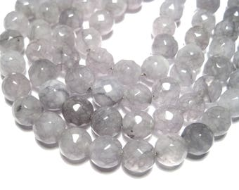 1 Strand Gray Faceted Natural Jade Stone Beads 8mm Dyed (No.R166)