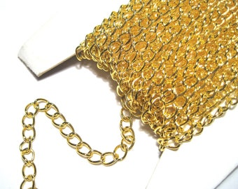 30ft Spool Gold Tone Iron Side Twist Chain 6x3mm Links-Opened  ( No.07GFF)