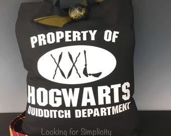 Property of Hogwarts Quidditch Department retro Scrimmage Tote Bag that has been Potter-fied