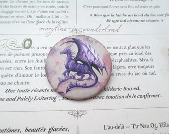 Purple dragon pin brooch badge