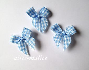 Set of 3 blue Gingham Bow Appliques