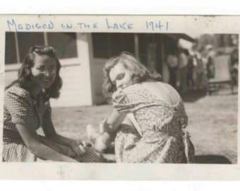 Vintage Retro 1940s B&W Snapshot Photo Candid Girls Smiling Looking Back