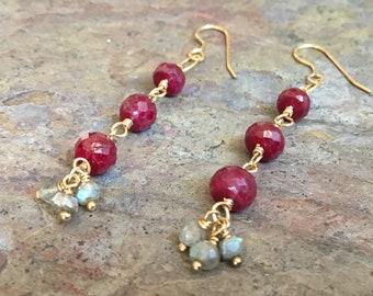 Ruby and labradorite gemstone gold dangle earrings