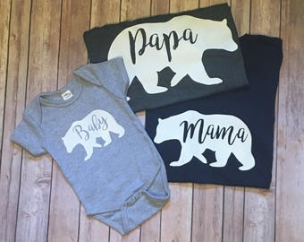 Papa, Mama and Baby bear shirt set