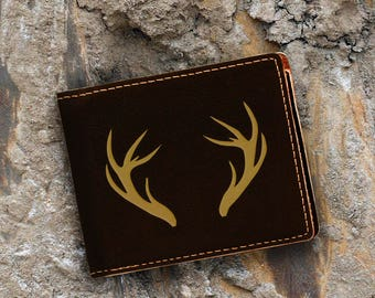 Engraved Bifold Wallet - Personalized Hunting-Full Size Art Work-Black Wallet-Engraves Gold-Anters 1