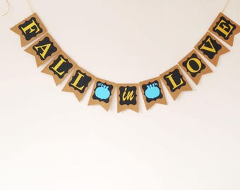 Chalkboard fall in love banner, Fall baby shower, fall wedding, fall bridal shower, rustic, gold, blue