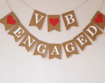 Engaged bunting, Initials engagement party decor, Photo props