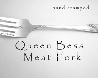 Hand Stamped Meat Fork Queen Bess Give Thanks Engraved Vintage Silverware, Silver Plated Serving Utensil, Hostess Gift, Holiday Table Decor